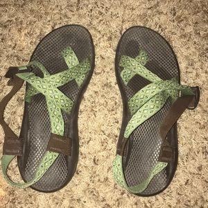 Green toe strap chacos